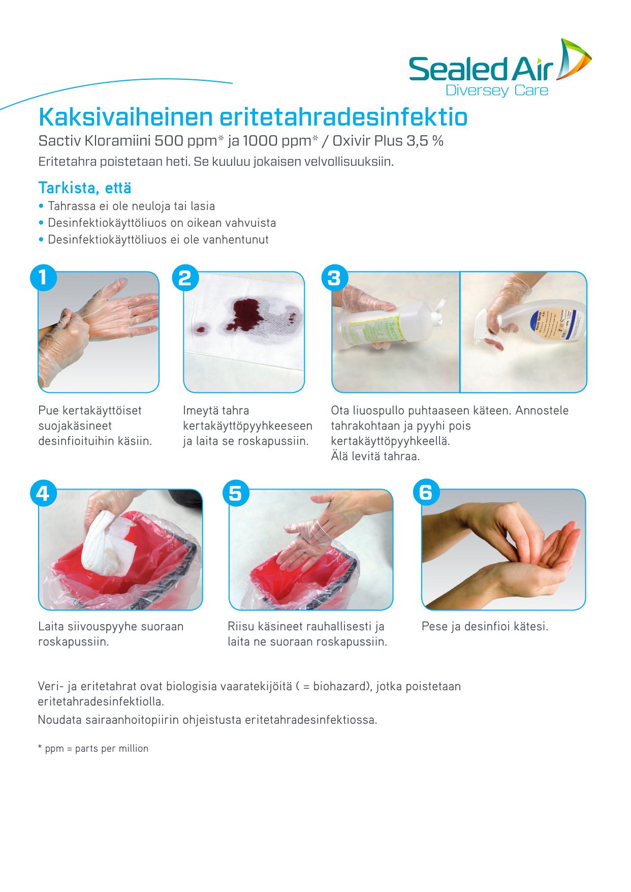 Kaksivaiheinen eritetahradesinfektio -ohje